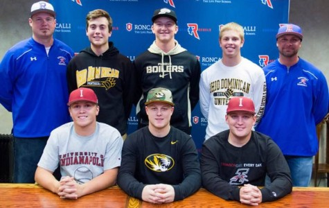 Signing to play: Senior Sam Phillips (upper left) signed his letter of intent to Ohio Dominican University last November with teammate Robbie Strader (upper right). Four more Rebel baseball players committed to play at University of Indianapolis, Purdue University, and the University of Missouri.