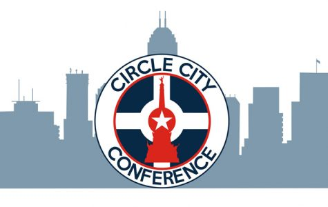 The new Circle City Confrence's logo features the Indianapolis skyline. The conference consists of four schools: Chatard, Brebeuf, Guerin Catholic, and Roncalli.