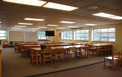 New makeover: The Media Center used to be scattered with multiple tables for students to do schoolwork. Now, it is filled with rows of desks ready for classes.