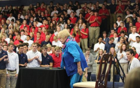 INSPIRING FORGIVENESS: Eva Kor shares her story of survival through the Holocaust.  Kor reminded both students and staff to be grateful for what they have.