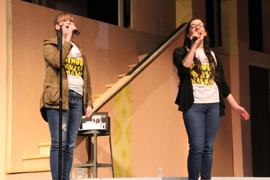 SINGING OUT: Sophomores Emily Wray and Allie Pena sing a duet from the famous Broadway musical Wicked. Wray sang as Glinda and Pena was Elphaba in the song