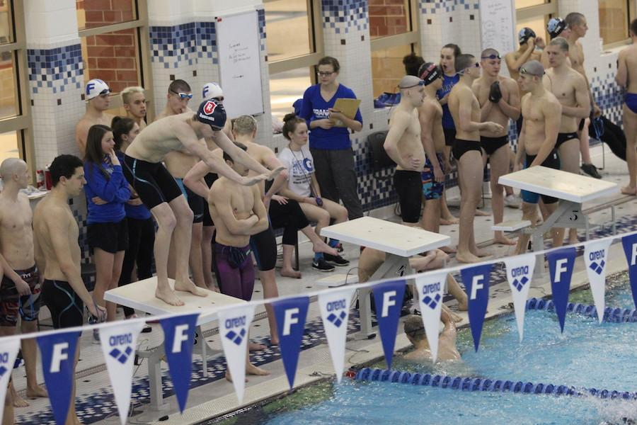 ENDING WITH SUCCESS: Junior Jack Bauer prepares to dive into the pool at the boys' sectional competition on Thursday.  Bauer's performance placed him as the school's second-fastest 500 freestyle.