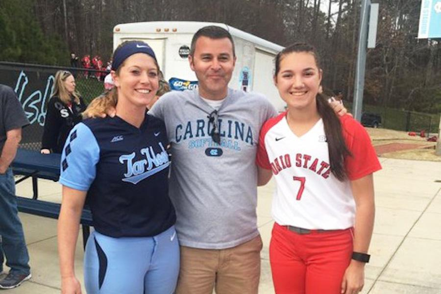 OUT OF THE PARK: (from left to right) Kendra Lynch, David Lauck, and Megan Choinacky get together for a photo after one of their games. Lynch and Choinacky played together at Roncalli for 2 years.