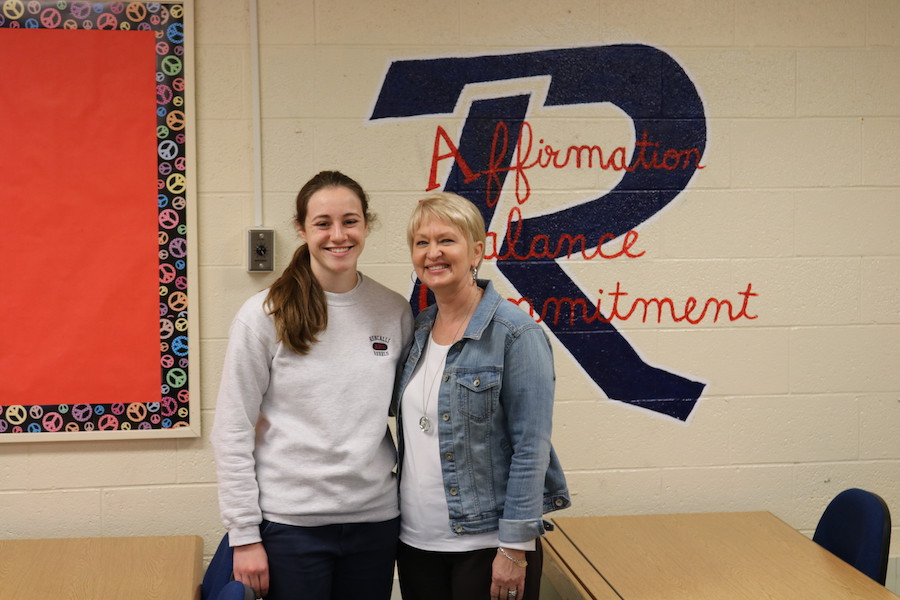 ALL STAR STUDENT: Senior Claire Whalen poses with English and psychology teacher Mrs. Kim Striby. Whalen was honored as an Indiana Academic All-Star and selected Striby as her most influential teacher.