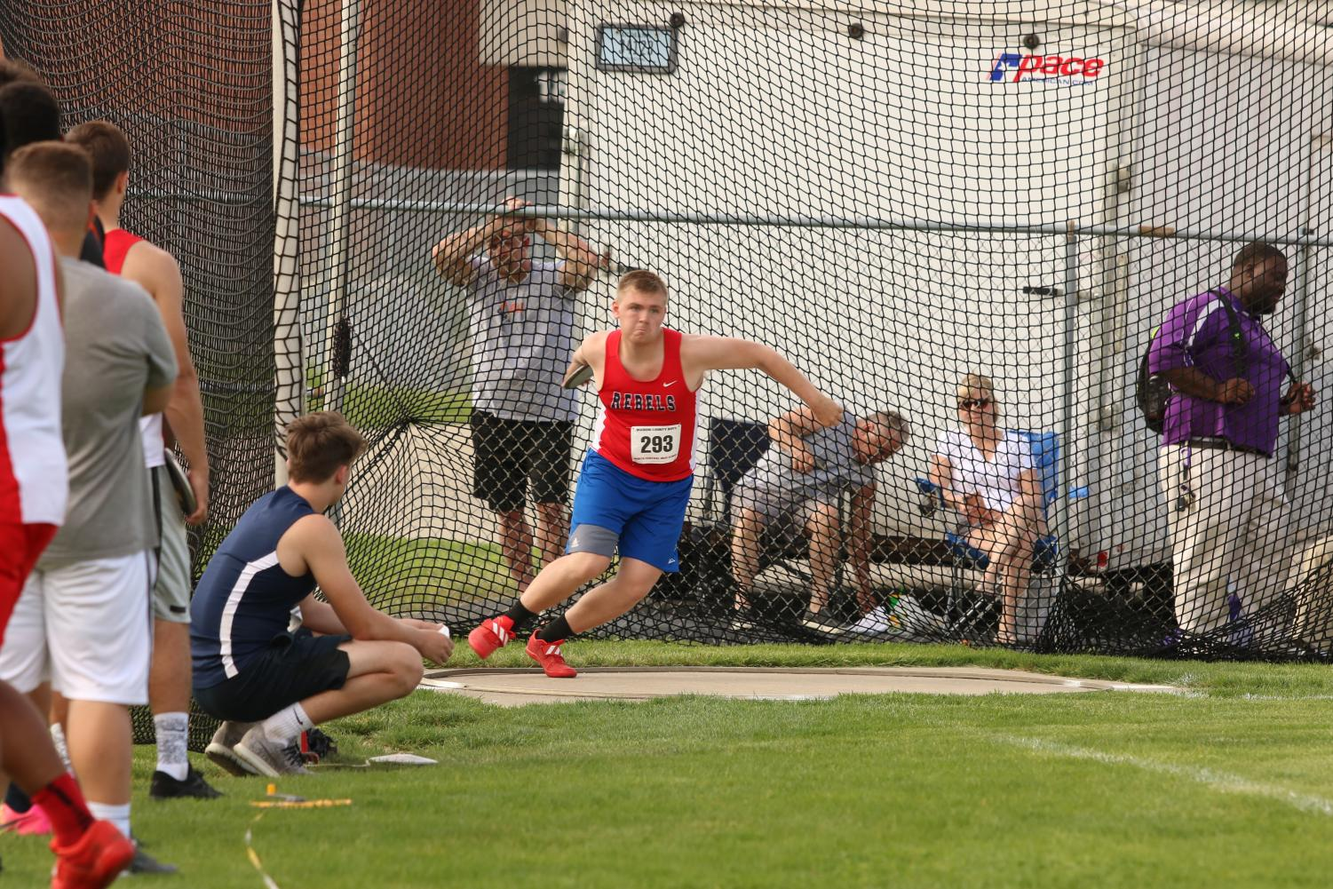 SPIN TO WIN: Holok throws discus at the Marion County meet. The entire team placed 8th overall at the meet.