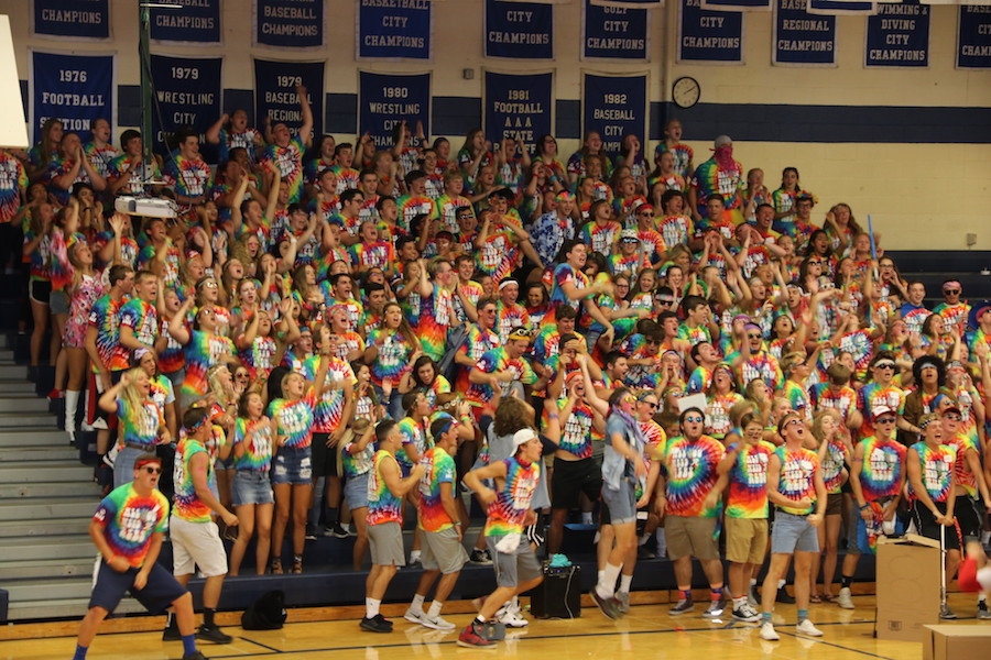 JOINING TOGETHER: Freshman Orientation gives new students the opportunitiy to experience the Rebel family for the first time. The seniors try to make sure the freshmen feel welcome and help them feel comfortable at Roncalli.