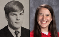 SAY CHEESE: Alumnus Chuck Kern and senior Maggie Schoening smile for their senior portraits.