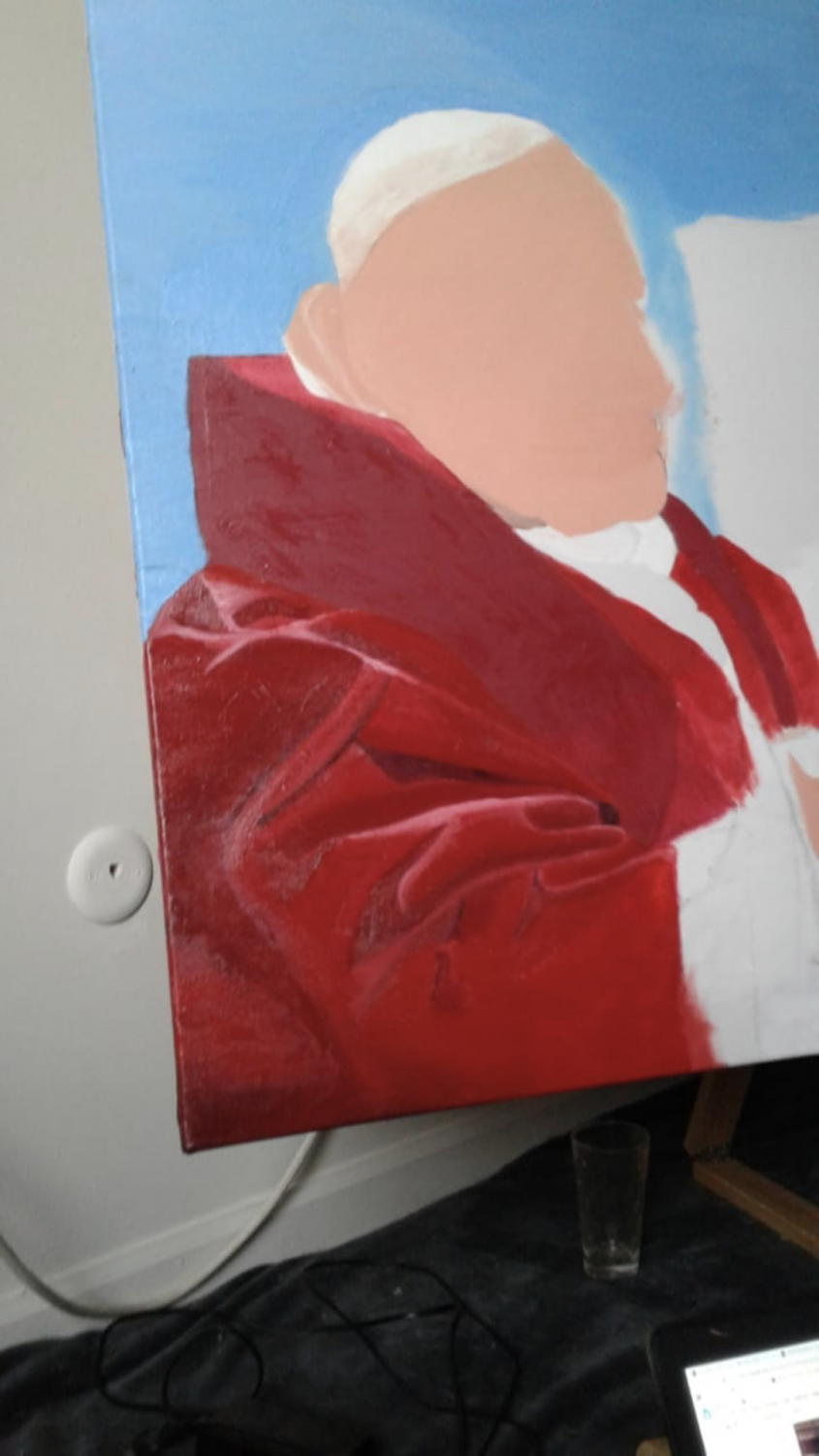 """RONCALLI IN A CANVAS: Senior Jaidly Ansico and his recent painting """"The Spirit of Roncalli"""" in the works. It is looking to be done soon."""