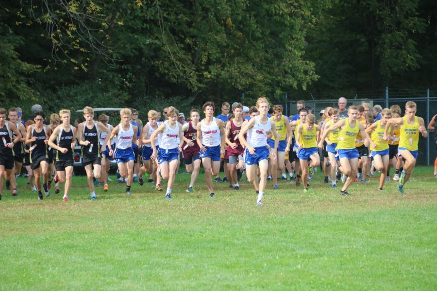 KEEP MOVING FORWARD: Varsity Rebel runners start the sectional meet at New Palestine. The team placed fifth, and Nick Perkins won the race by 42 seconds.