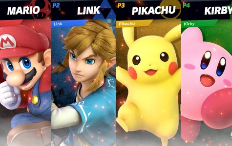 SUPERSTAR FIGHTERS RETURN: Four of the most popular characters in the Smash series face off in Super Smash Bros. Ultimate, including Mario from the Super Mario series, Link from the Legend of Zelda series, Pikachu from the Pokémon series, and Kirby from the Kirby series.