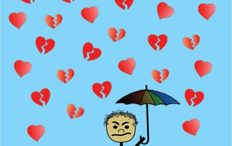 WHO NEEDS LOVE: This satirical cartoon depicts an angry man on Valentine's Day. Surrounded by love and affection, he angrily defends himself from the hearts with his umbrella of anger and apathy.