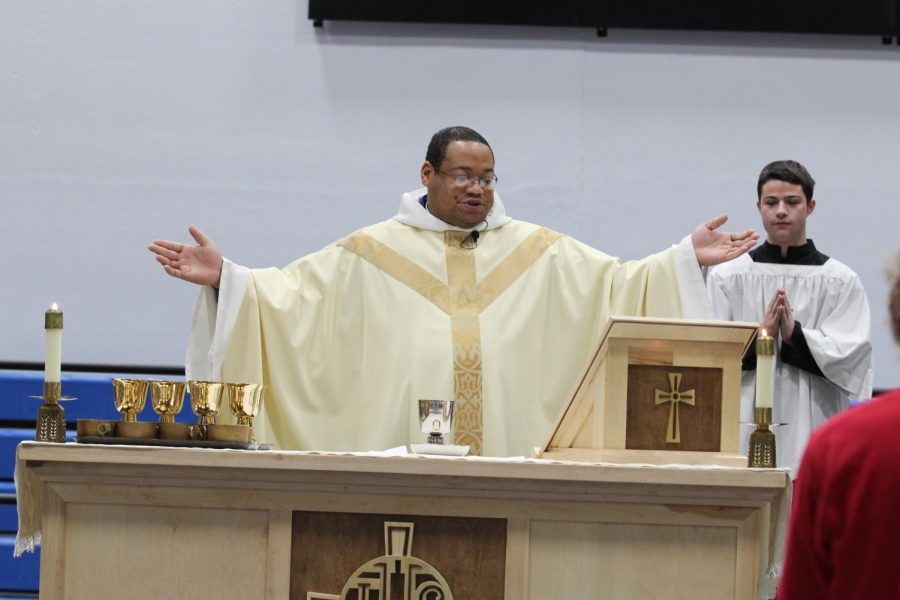 First mass celebrated in new gym