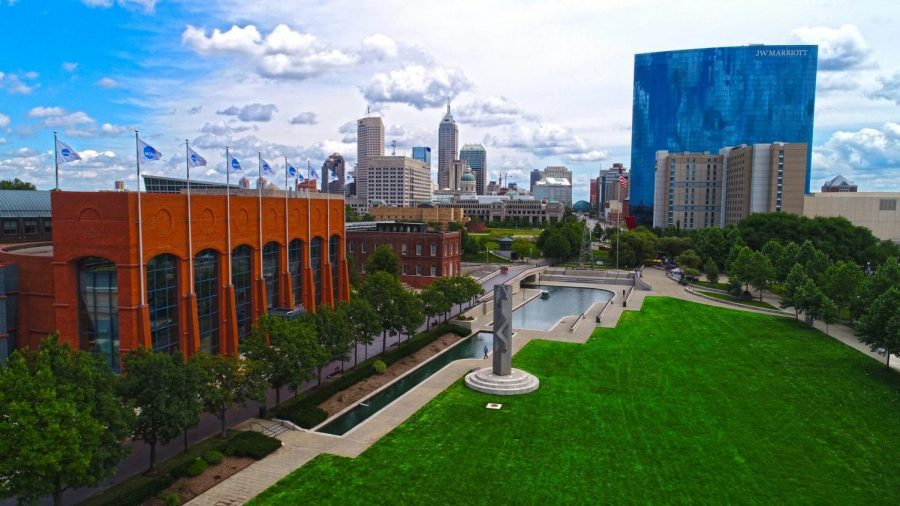 SETTING THE STAGE: In White River State park, the view shows the NCAA headquaters and JW Marriott in the background. Indianapolis will be hosting the 2021 March Madness tournament.