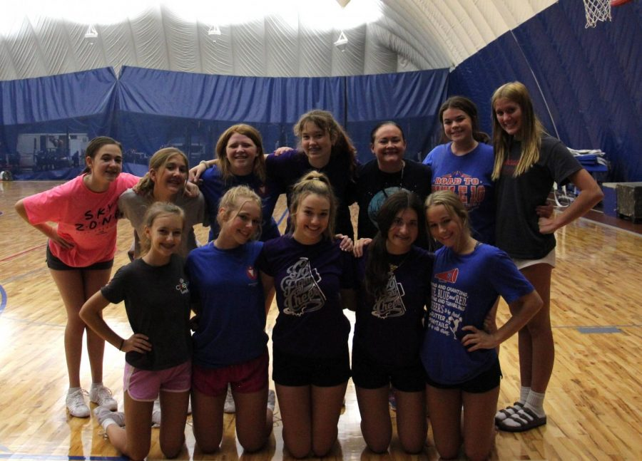 ROYAL SPIRIT: The freshman cheer squad poses for a team photo after an August practice,