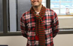 Mr. John Hasty in Christmas pajamas on the first day of homecoming spirit week, Holiday Day.